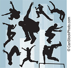 set vector silhouettes parkour