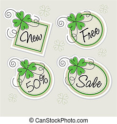label set with clovers