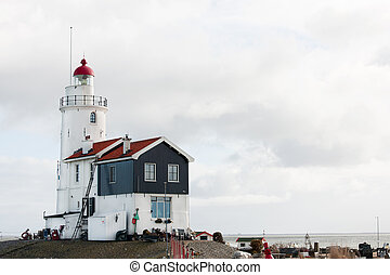Lighthouse in Dutch Marken - White lighthouse at the Dutch...