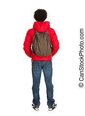 Black school boy back side - Black school boy in red coat...