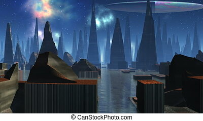 Fantastic city and UFO - High pyramidal buildings stand...