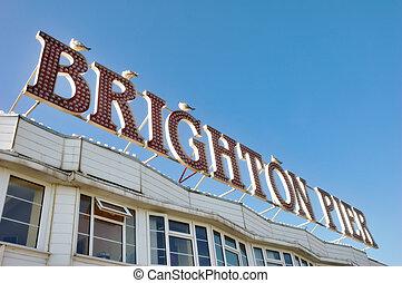 Brighton Pier Sign - Herring gulls perched on the Brighton...