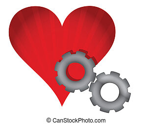 red heart and gears illustration design over white