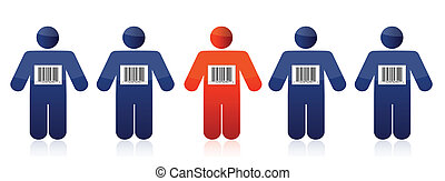 Bar code and people illustration