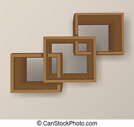 Bookshelf - Background with three brown cross wood bookshelf