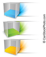 Set of banners with cubes - Set of banners with 3d color...