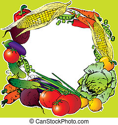 Vegetables frame - Collection of vegetables in the form of...
