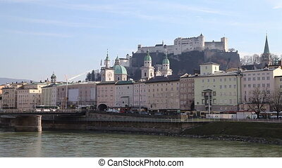 Salzburg, Austria - Salzburgs famous old town and iconic...
