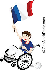 France Sport Fan Supporter on Wheelchair with Flag - Vector...