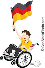 Germany Sport Fan Supporter on Wheelchair with Flag - Vector...