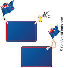 New Zealand Sport Message Frame with Flag. Set of Two -...