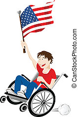 USA Sport Fan Supporter on Wheelchair with Flag