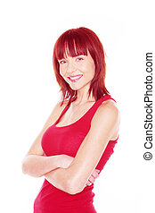 woman in red tank top arms crossed in front of her