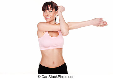 woman doing arm stretching