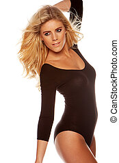 blonde woman wearing brown leotards - blonde woman with a...