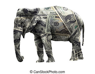 Dollar elephant - Ritch adult elephant coated in dollar...