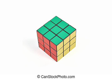 The Rubiks cube is on the white