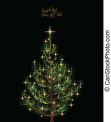 Christmas card with fir-tree. Vector - Christmas background...