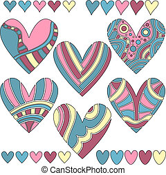 Colorful vector heart collection