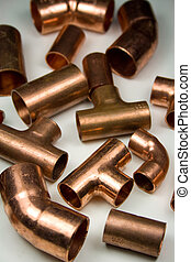 Copper Plumbing Fittings - Assortment of copper plumbing...