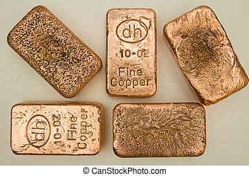 Pure Copper Bullion Bars - Pure copper bullion bars (ingots)