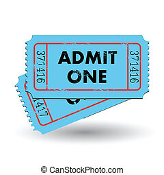 Blue Admit One Ticket - Image of a colorful blue admit one...