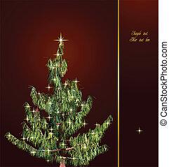Christmas card with fir-tree. Vector