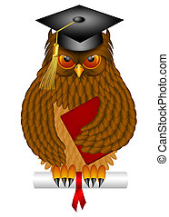 Wise Old Owl with Graduation Cap and Diploma Illustration -...
