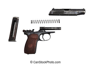 disassembled gun on a white background