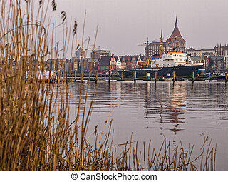 View to the hanseatic city Rostock Germany