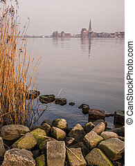 View to the hanseatic city Rostock (Germany).