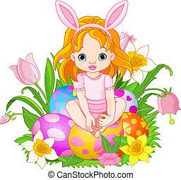 Cute Easter baby girl - Illustration of Easter baby girl...