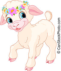 Easter lamb with circlet of spring flowers