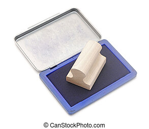 classic rubber stamp with opened blue ink pad isolated