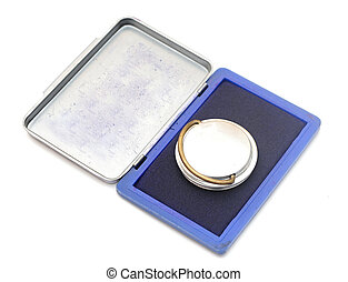 Rubber stamp with stamp pad on  a white background