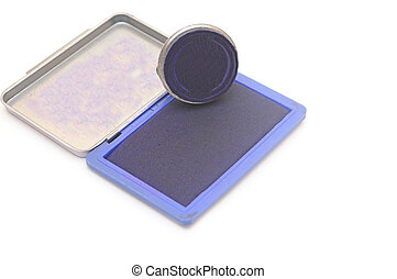 rubber stamp with stamp pad on white background