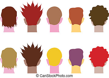 different heads, abstract vector illustration