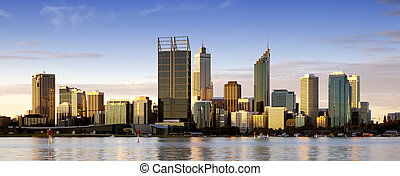 Perth at Dusk - Perth, Western Australia, at dusk, with Swan...