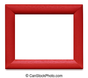 Red Wooden Picture Frame - Red painted wooden picture frame,...