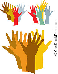 colorful hands silhouette, vector illustration