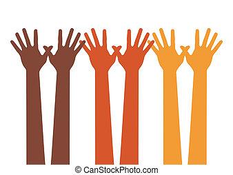 Happy hands vector - Happy hands, vector illustration
