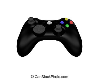 Black Video Game Controller on White - 3d Rendered Isolated...