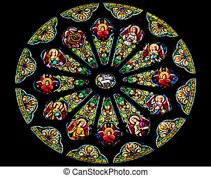 Rose Stained Glass Window Saint Peter Paul Catholic Church...