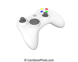 White Video Game Controller on White - 3d Rendered Isolated...