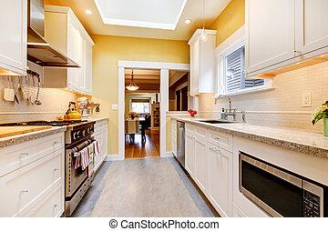 amarillo, blanco, simple, cocina, claraboya