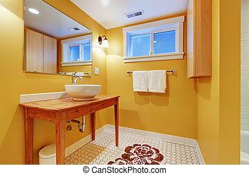 Orange modern bathroom with round sink - Orange bathroom...