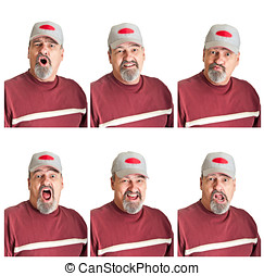 Six Different Expressions On Mature Man - Collection of six...