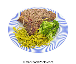 Steak with pasta and broccoli