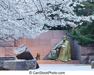 Cherry blossoms and Washington FDR monument - Early Japanese...