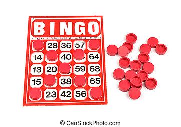 vermelho, Bingo, cartão